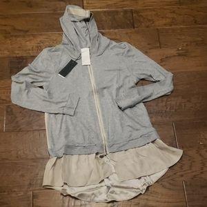 Heather Hooded Silk Zip Tunic Gray Blush Medium